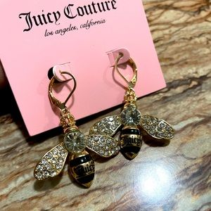 Juicy Couture Gold Tone Bumblebee Crystal Earrings
